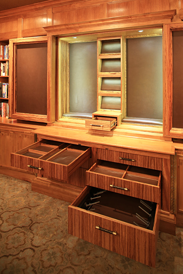 Gun Display Cabinet Photo 6 - Custom Zebrawood Interiors